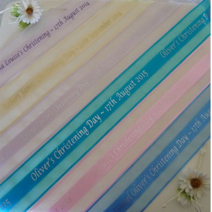 Personalised Organza Christening Ribbon 38mm